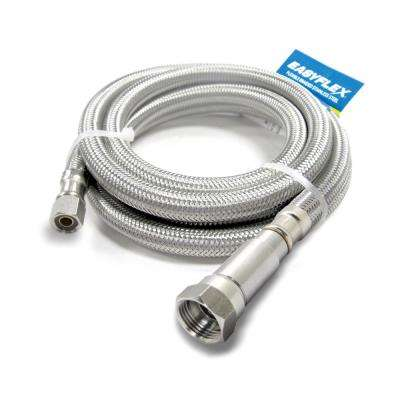 SafeFlow 1/4 in. C with EFV x 1/4 in. C 120 in. (10 ft.) Stainless Steel Braided Ice Maker Connector