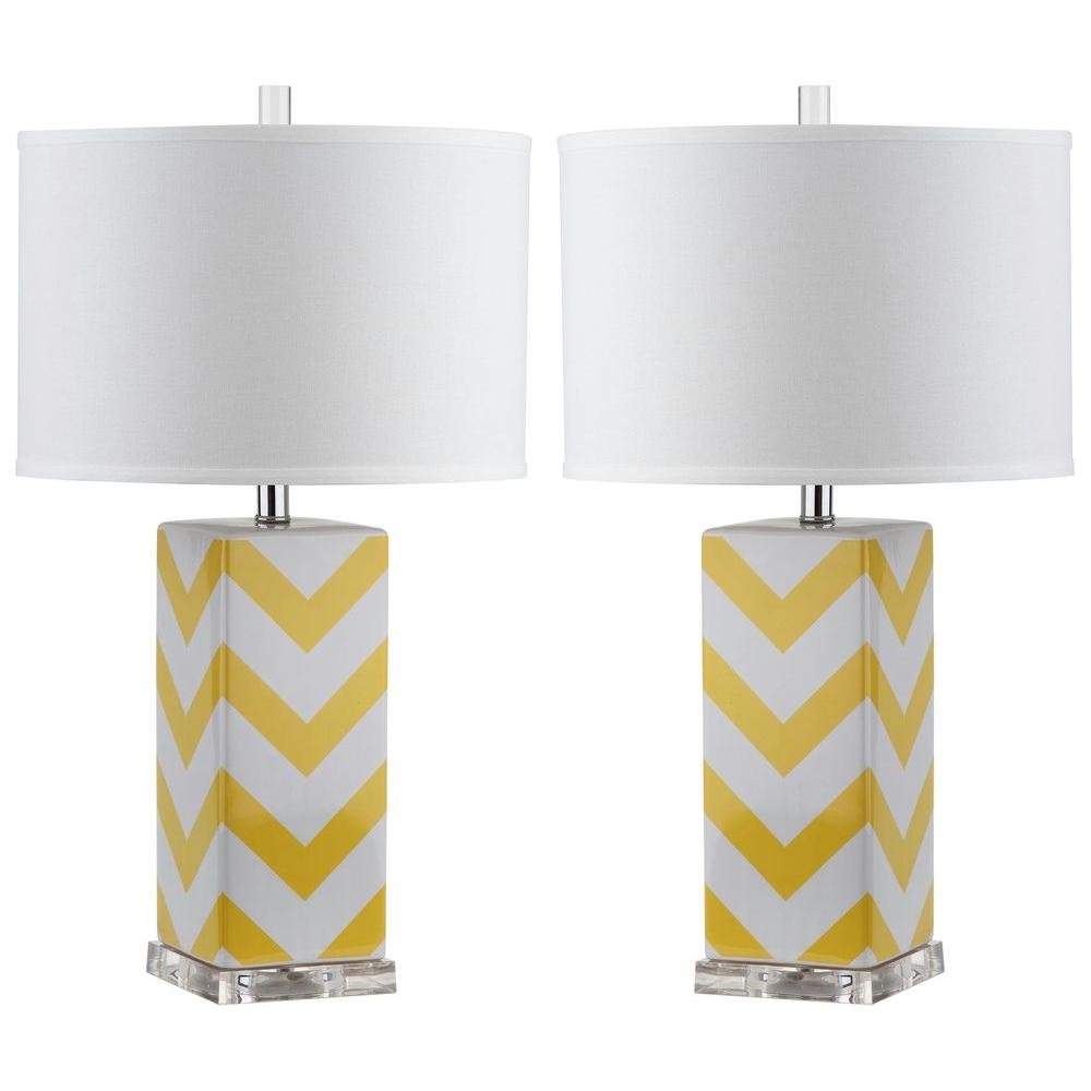 Chevron 27 in. Yellow Stripe Table Lamp (Set of 2)