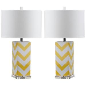 Yellow Stripe Table Lamp (Set Of 2) LIT4136G SET2   The Home Depot