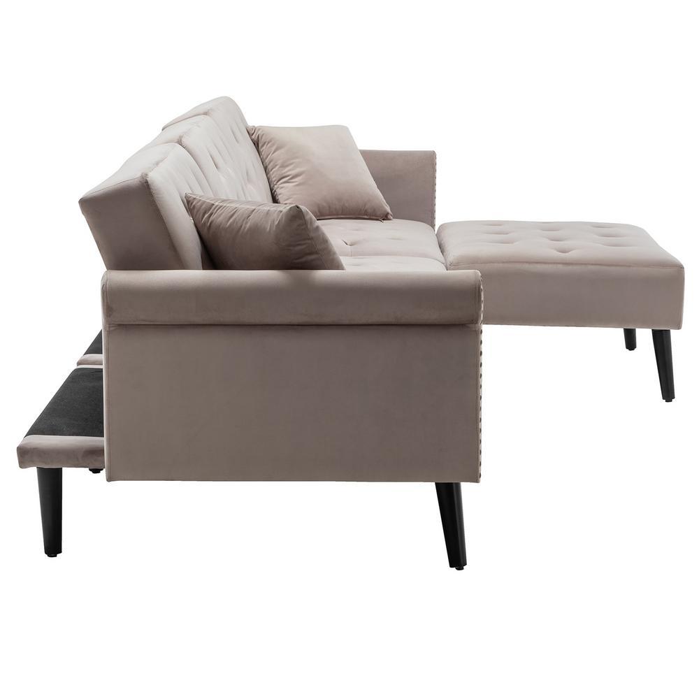 Boyel Living 115 In Gray Velvet 3 Seater Full Sleeper Sectional Sofa Bed With Tapered Legs Wf Hfsn 141sg The Home Depot