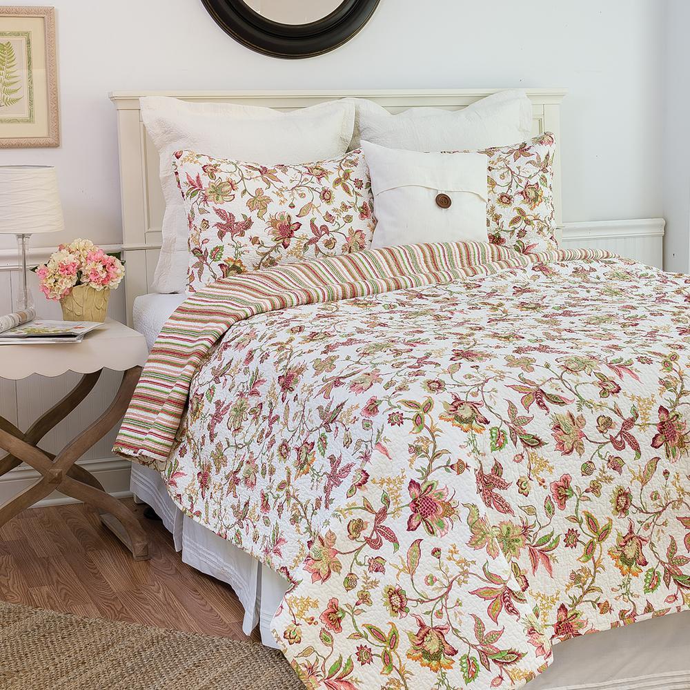 White Jacobean Pink Twin Quilt Set