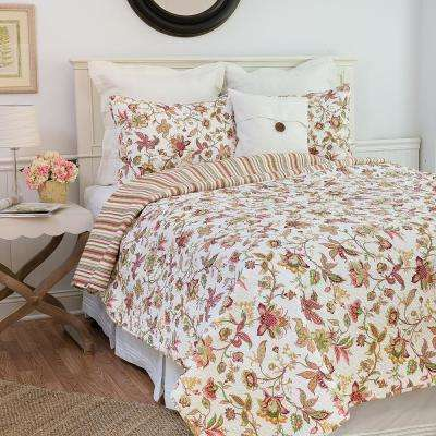 White Jacobean Pink Twin Quilt Set