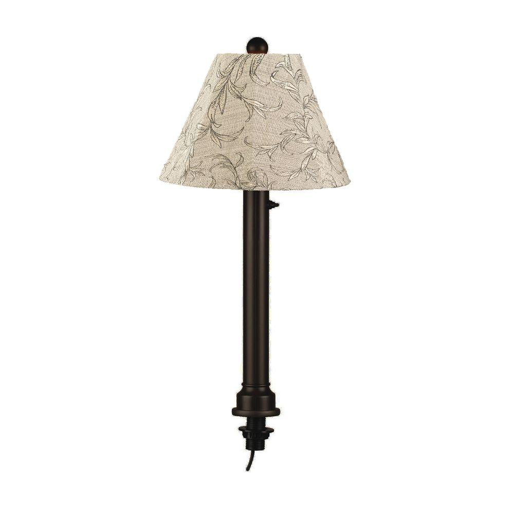 Patio Living Concepts Catalina 28 in. Outdoor Black Umbrella Table Lamp with Bessmer Shade