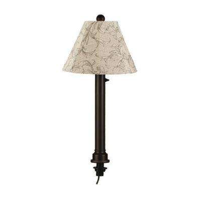 Catalina 28 in. Outdoor Black Umbrella Table Lamp with Bessmer Shade