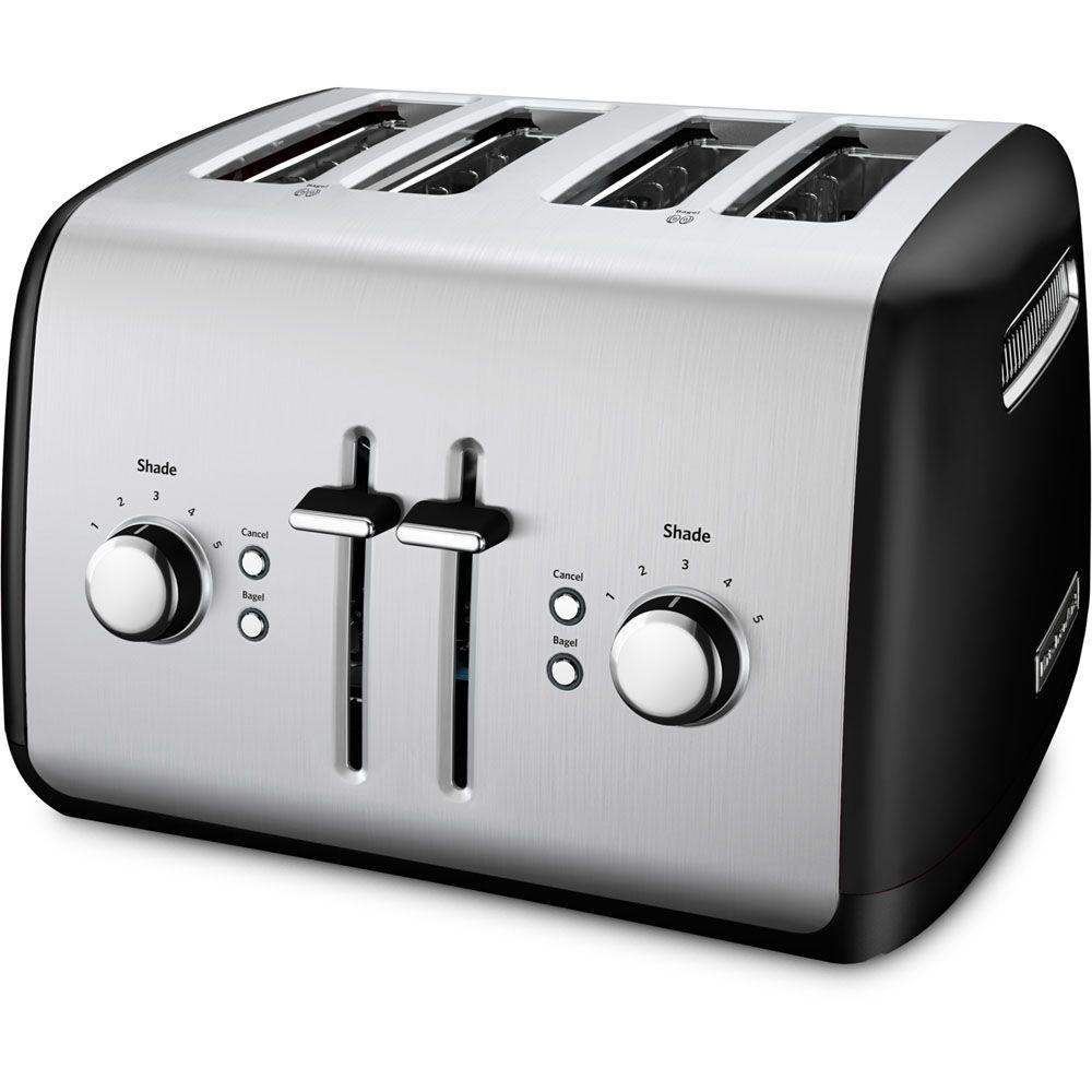 4-Slice Black and Silver Toaster
