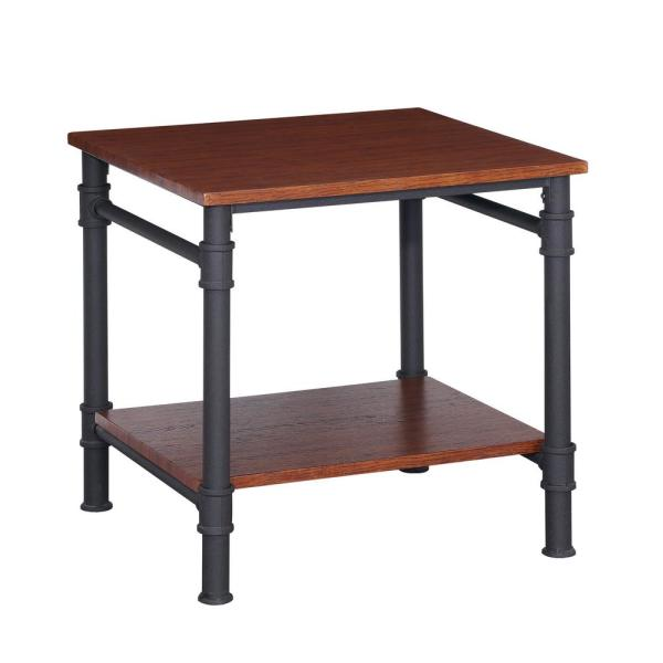 Noble House Cagny Industrial Teak Brown Faux Wood and Gray Metal