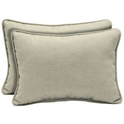 22 x 15 New Tan Leala Texture Oversized Lumbar Outdoor Throw Pillow (2-Pack)