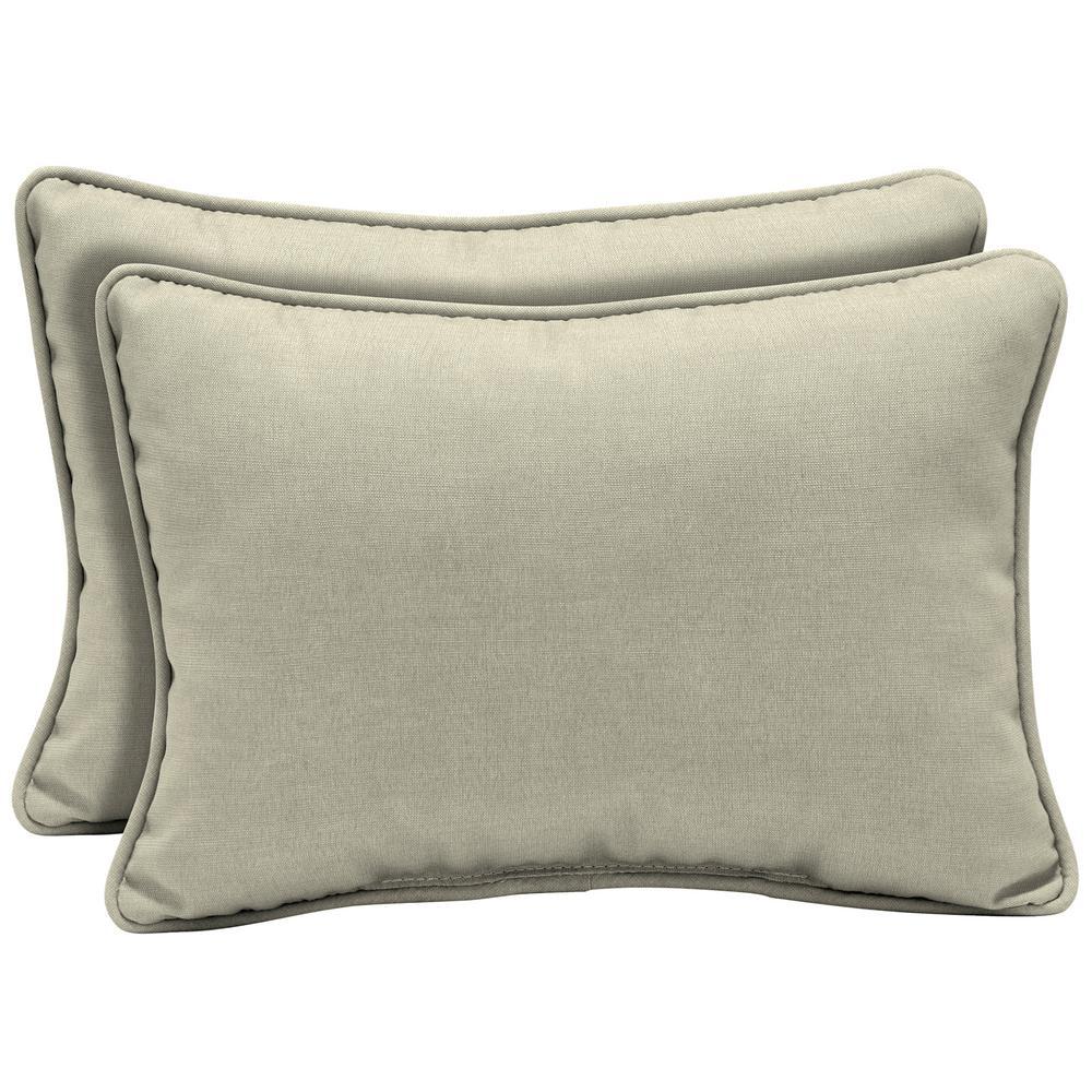 New Tan Leala Texture Oversized Lumbar Outdoor Throw Pillow (2-Pack)