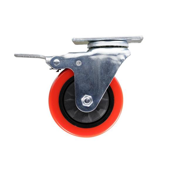 4 in. Red TPU Heavy-Duty Swivel Plate Caster with Brake, 250 lbs. Weight Capacity