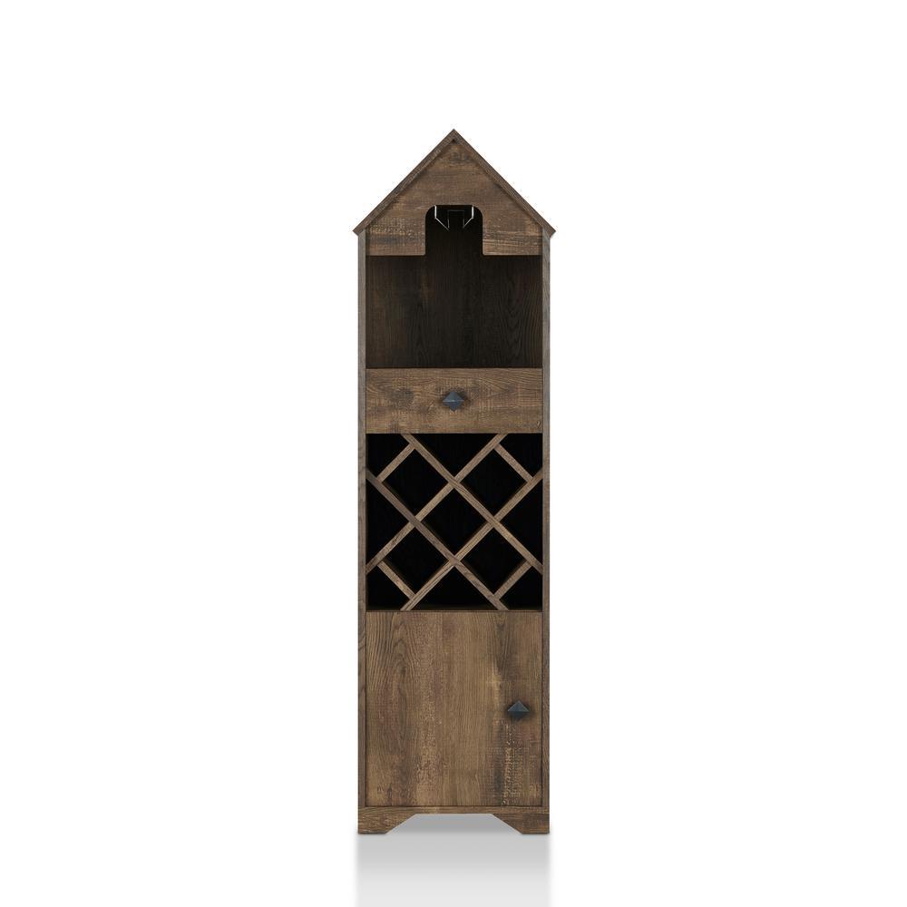 9-Bottle Marit Reclaimed Oak with Stemware Rack Novelty House Wine Cabinet