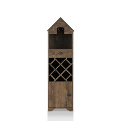 9-Bottle Marit Reclaimed Oak with Stemware Rack Novelty House Wine Cabinet