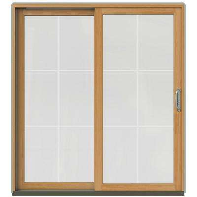 72 in. x 80 in. W-2500 Contemporary Silver Clad Wood Right-Hand 6 Lite Sliding Patio Door w/Stained Interior