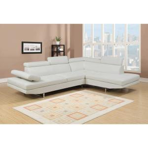Logan Collection 2-Piece Sectional Sofa Set with Bonded Leather and Left  Facing Style in White Color