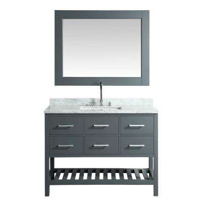 London 48 in. W x 22 in. D Vanity in Gray with Marble Vanity Top in Carrera White with White Basin and Mirror