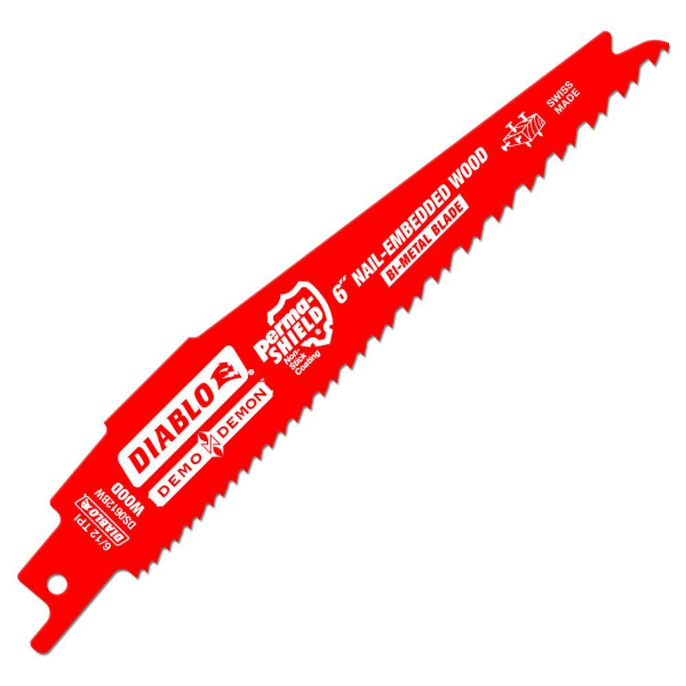 Diablo 6 in. 6/12 TPI Demo Demon Nail-Embedded Wood Cutting Reciprocating Saw Blade (15-Pack)