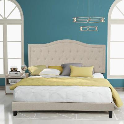 Classic style Upholstered Linen Bed Frame, King Size 84-in , Beige