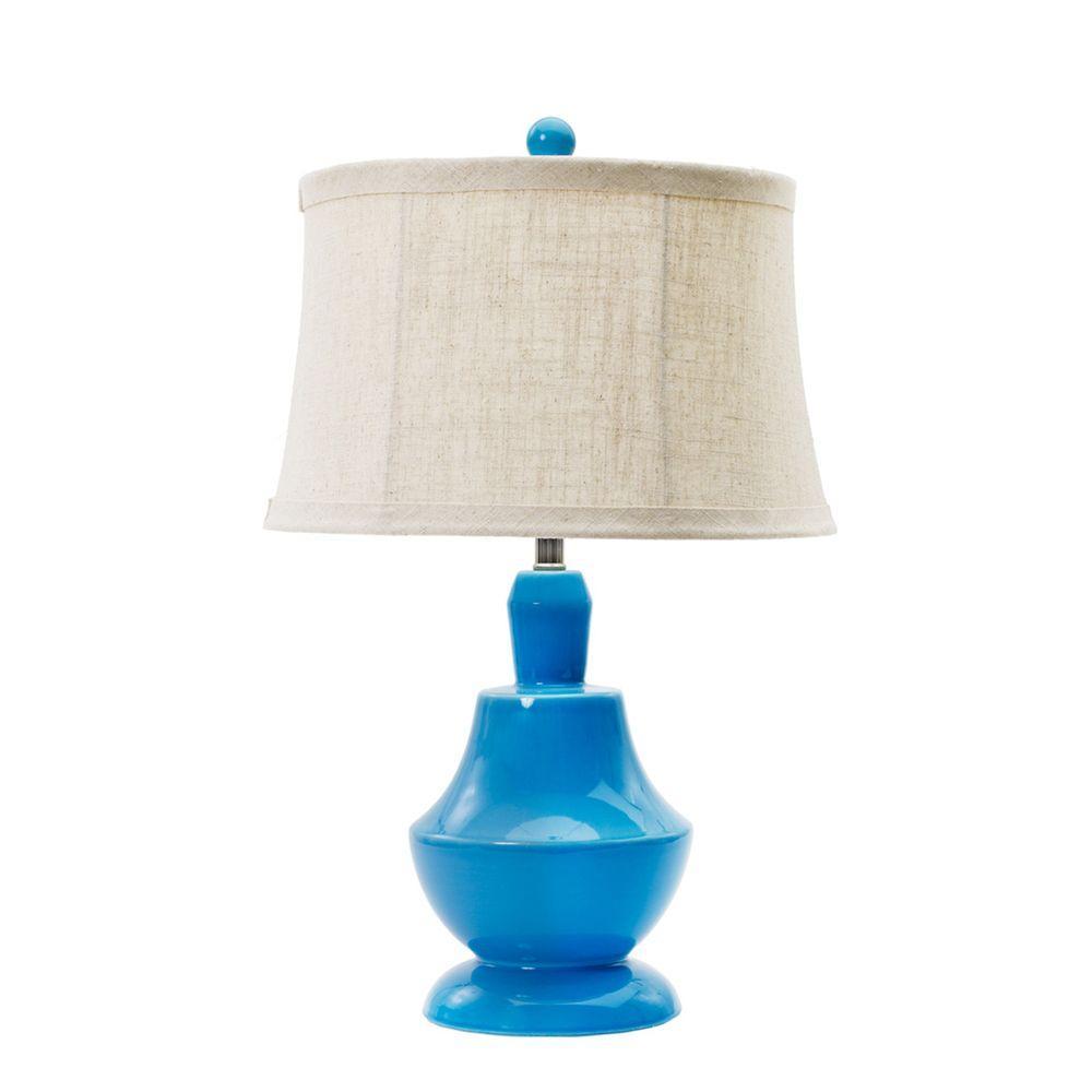 Peacock Blue Ceramic Table Lamp