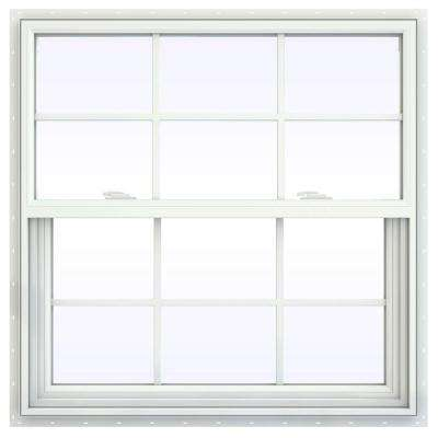 35.5 in. x 35.5 in. V-2500 Series White Vinyl Single Hung Window with Colonial Grids/Grilles