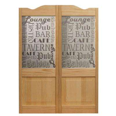 36 in. x 42 in. Pub Decorative Glass Over Wood Raised Panel Saloon Door