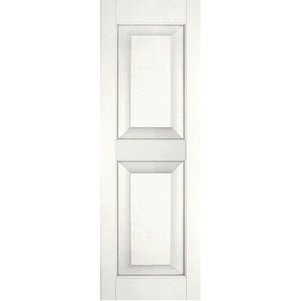 Ekena Millwork 12 in. x 55 in. Exterior Real Wood Pine Raised Panel Shutters Pair White