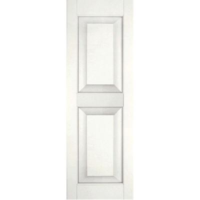 15 in. x 44 in. Exterior Real Wood Sapele Mahogany Raised Panel Shutters Pair White