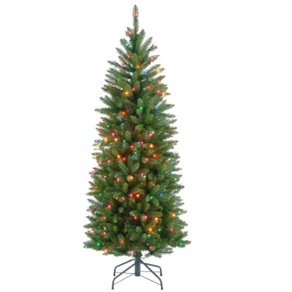 4-1/2 ft. Kingswood Fir Hinged Pencil Artificial Christmas Tree with Multicolor Lights