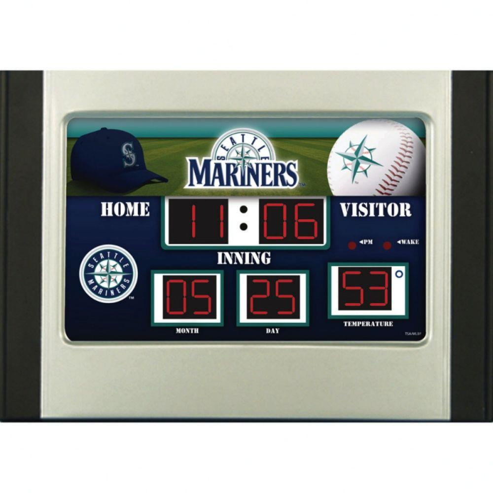 null Seattle Mariners 6.5 in. x 9 in. Scoreboard Alarm Clock with Temperature