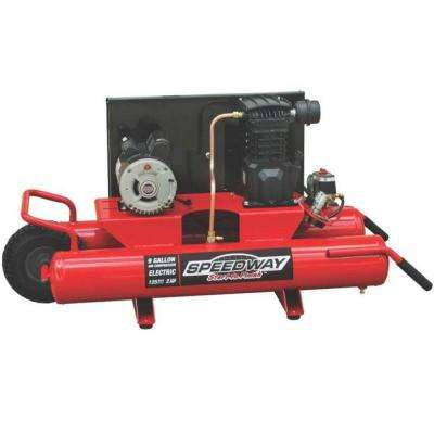 9 Gal. 2 HP Wheelbarrow Design Electric Air Compressor with Run-Flat Tire