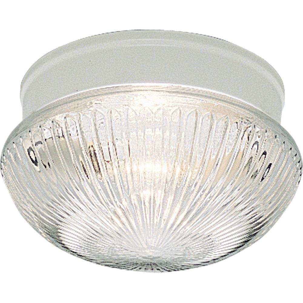 2-Light White Flushmount with Clear Prismatic Glass