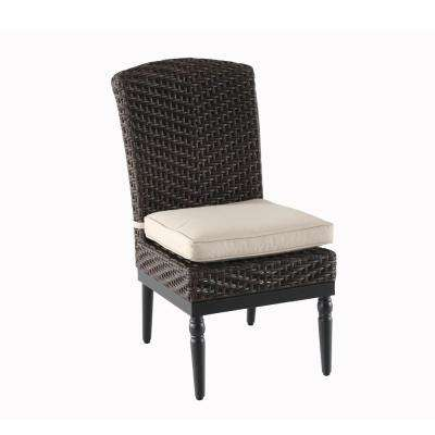 Camden Dark Brown Wicker Outdoor Armless Dining Chair With Sunbrella Fretwork Flax Cushion 2