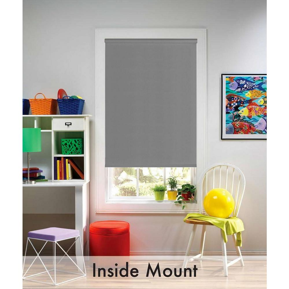 Gray Blackout Cordless Fabric Thermal Blocking Roller Shade - 37.25 in.