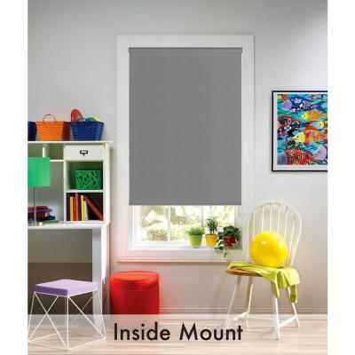 Cut-to-Size Gray Cordless Blackout Fade resistant Roller Shades 54 in. W x 72 in. L