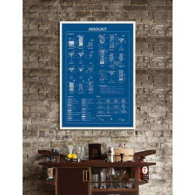 """40 in. x 28 in. """"Mixology Blue"""" Framed Giclee Print Wall Art"""