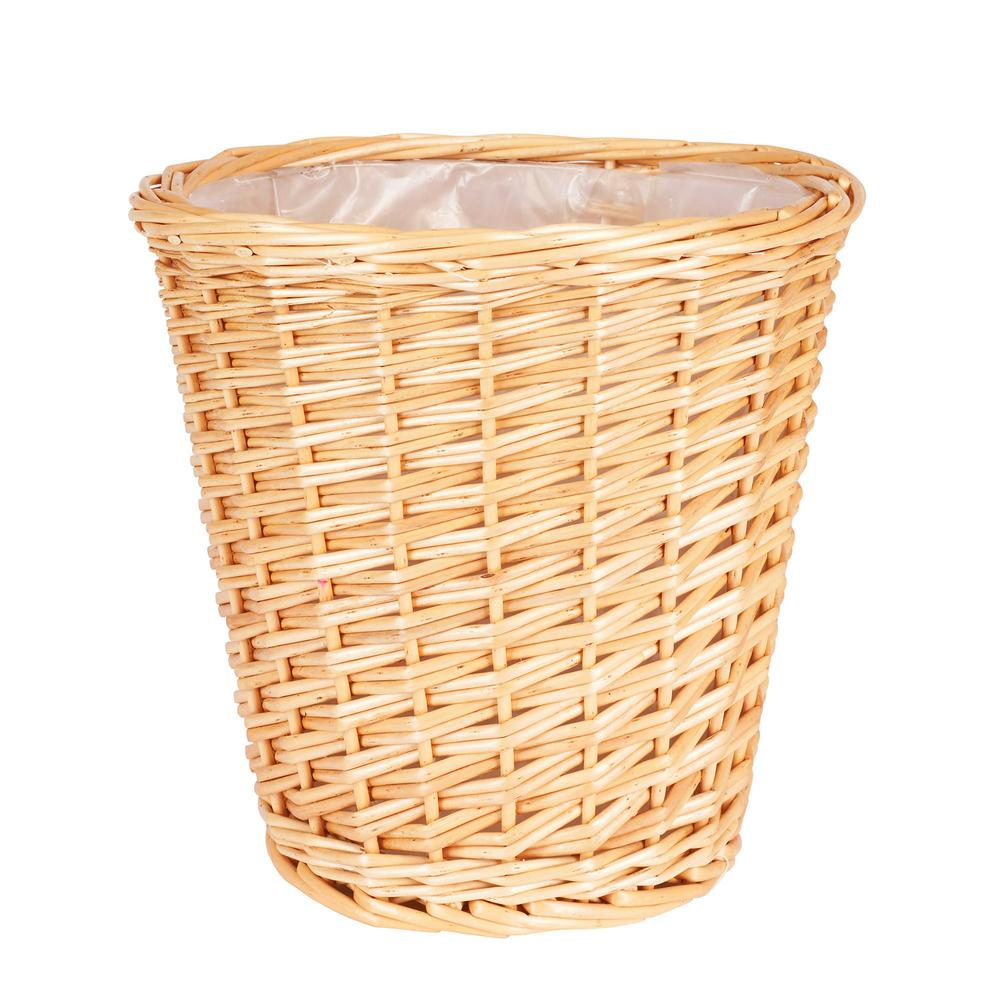 10 in. x 10 in. Small Willow Waste Basket with Liner