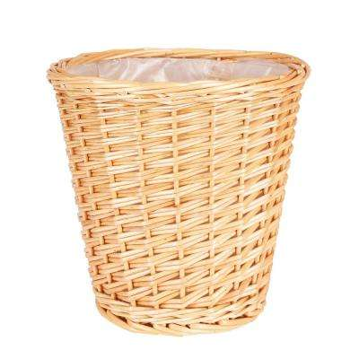 10 in. x 10 in. Small Willow Waste Basket with Liner and Natural