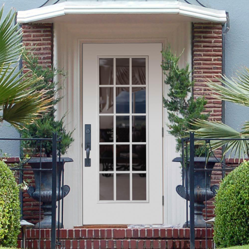 Masonite 36 In X 80 In Premium 15 Lite Primed Left Hand Outswing Steel Prehung Front Exterior Door No Brickmold