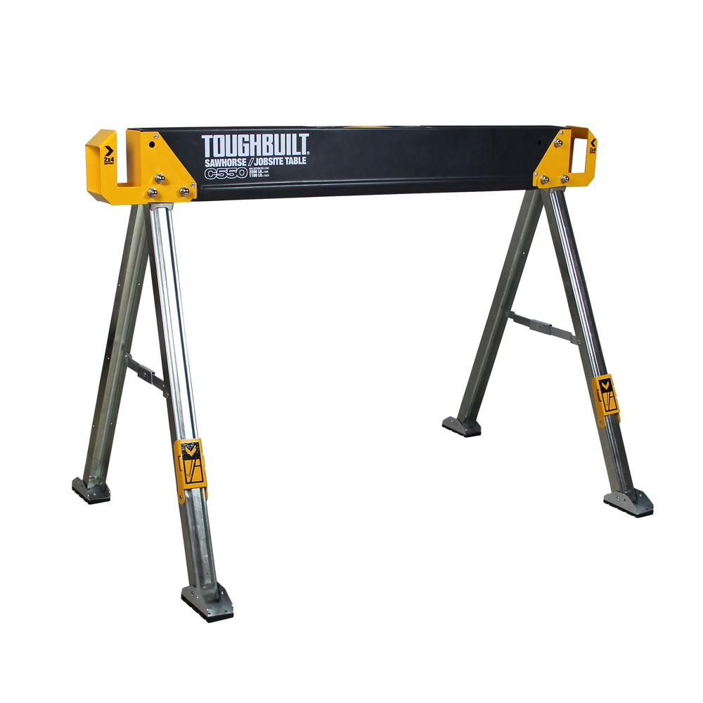 TOUGHBUILT 42.4 in. W x 28.8 in. H Steel Sawhorse and Jobsite Table – 1100 lb. Capacity