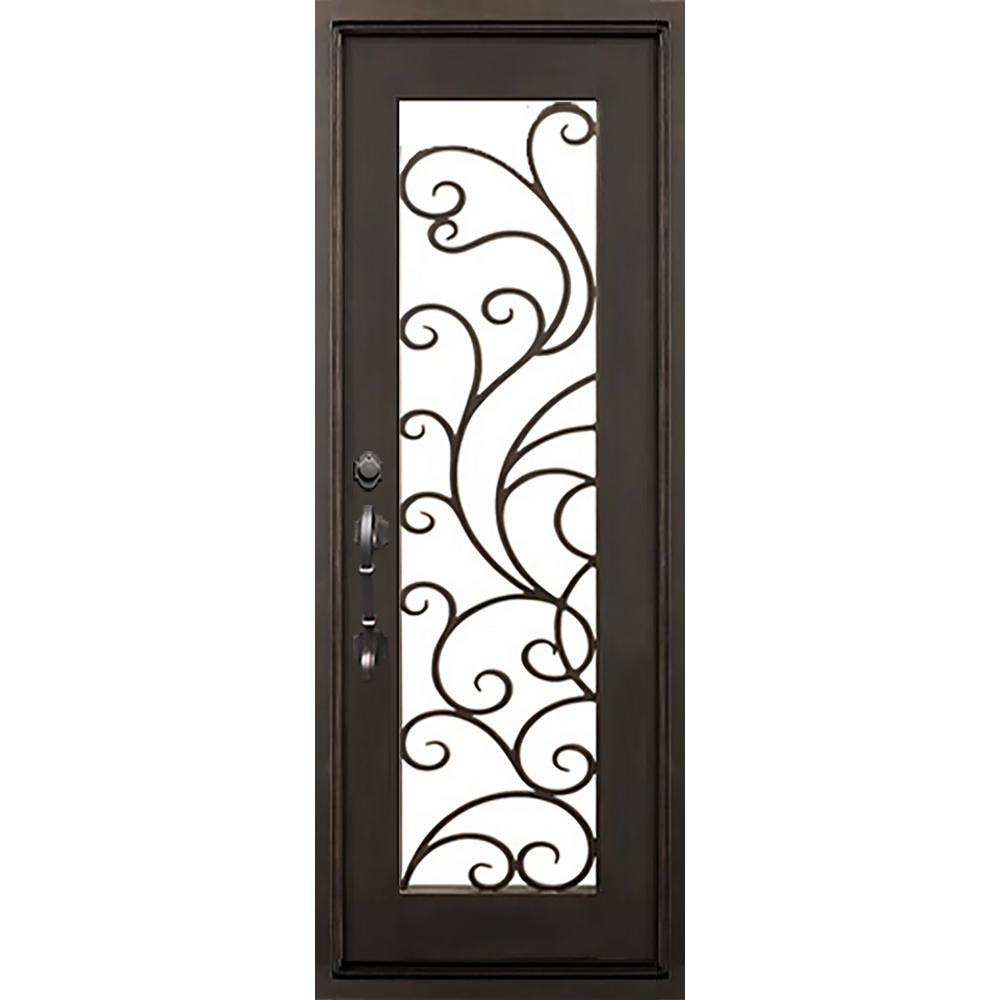 ALLURE IRON DOORS & WINDOWS 40 in. x 82 in. Islamorada Dark Bronze Classic Full Lite Painted Wrought Iron Prehung Front Door (Hardware Included)