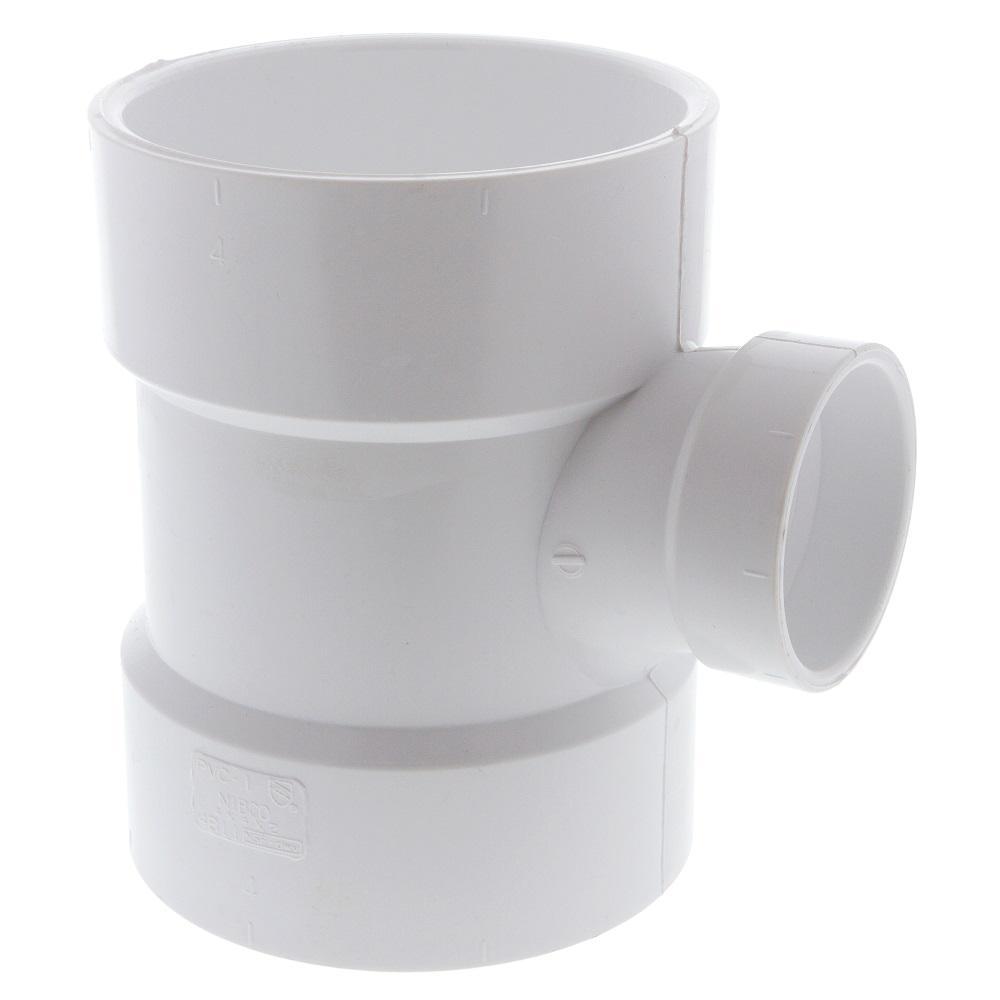 4 in. x 4 in. x 2 in. PVC DWV Hub x Hub x Hub Sanitary Tee