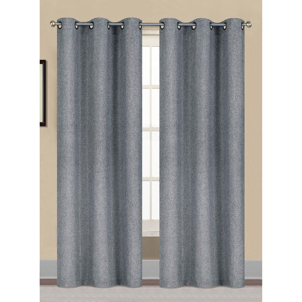 Window Elements Semi-Opaque Willow Textured Woven 96 in. L Grommet Curtain Panel Pair, Dusty Blue (Set of 2)