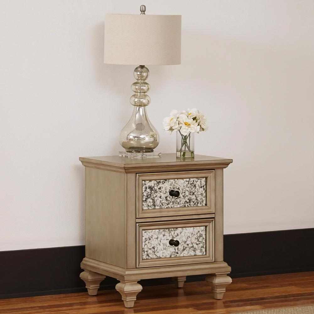 Home Styles Visions 2 Drawer Silver Gold Champagne Nightstand