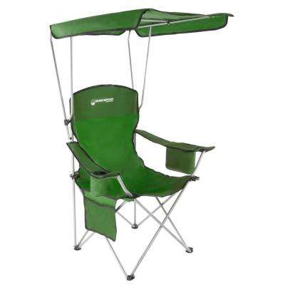 Green Heavy-Duty Camp Chair with Sun Canopy
