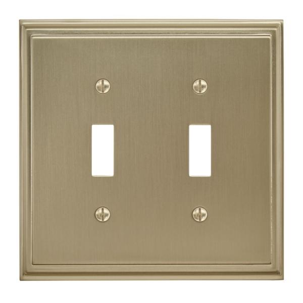 Amerock Gold 2 Gang Toggle Wall Plate 1 Pack Bp36515bbz The Home Depot