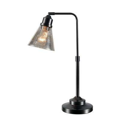 Bessy 22 in. Warm Bronze Desk Lamp with Mercury Glass Shade