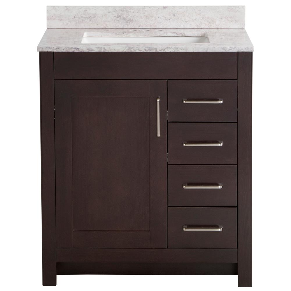 Home Decorators Collection Westcourt 31 in. W x 22 in. D Bath Vanity in Chocolate with Stone Effect Vanity Top in Winter Mist with White Sink