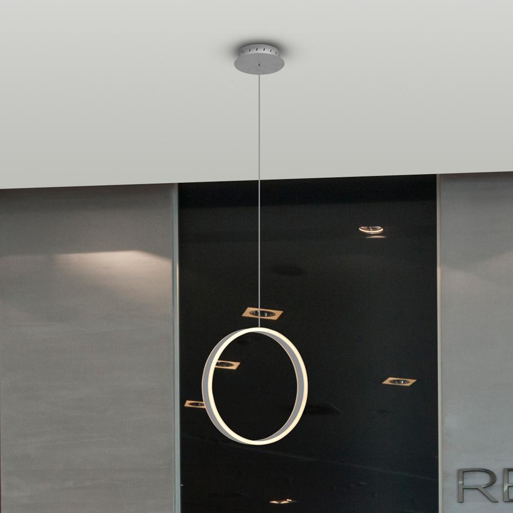 Europa 34-Watt Silver Integrated LED Pendant Lighting Fixture