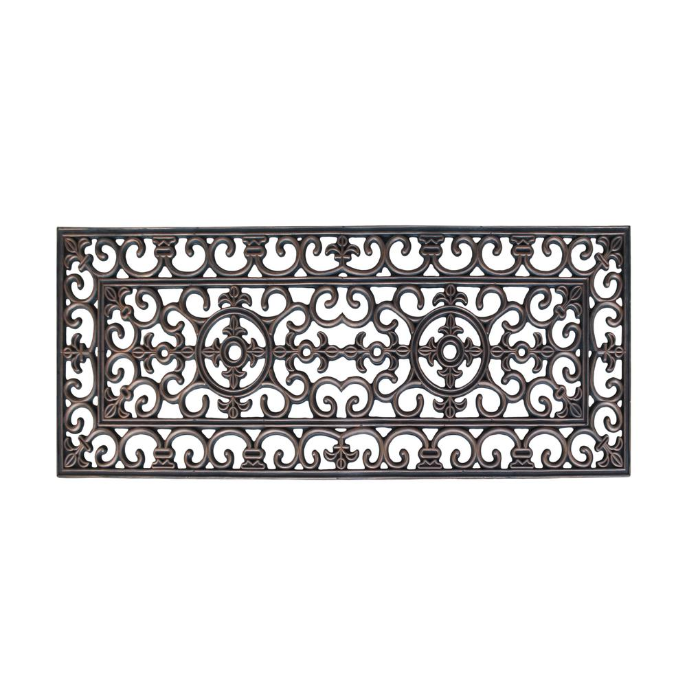 A1HC First Impression Elegant Copper 17.7 in. x 47 in. Rubber Double Door Mat