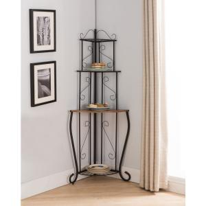 Black/Walnut 3-Tier Corner Baker\'s Rack Kitchen Storage