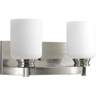 Orbitz Collection 2-Light Brushed Nickel Bathroom Vanity Light with Glass Shades