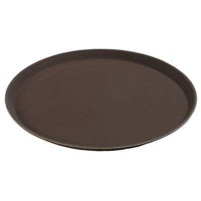11 in. Diameter Polypropylene Round Tray with Rubber Liner in Tan (Case of 12)
